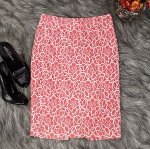 Eva Mendes coral pencil skirt with lace overlay